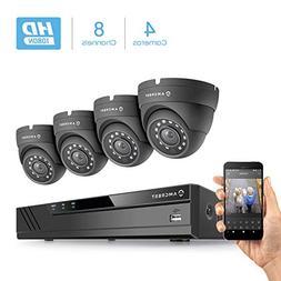Amcrest HD 1080-Lite 8CH Video Security Camera System w/ 4 x