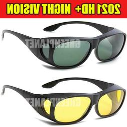 2 Set HD Day & Night Vision glasses Men Driving Wraparound S