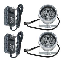 2pcs 48LED & 12V Power IR Infrared Night Vision Light for Se