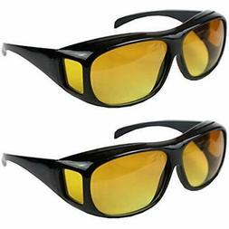2pcs HD Night Vision Wraparounds Around Windproof Sunglasses