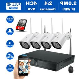 4CH Wireless NVR 1080P WIFI Cameras CCTV Security System Vid