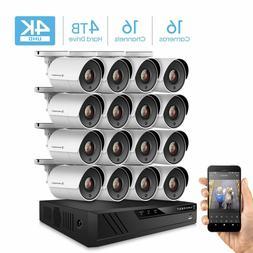 Amcrest 4K 16CH DVR 4TB Home Security Camera System Surveill