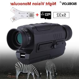 5x32 Optics Infrared Night Vision Monocular With 16GB Card +