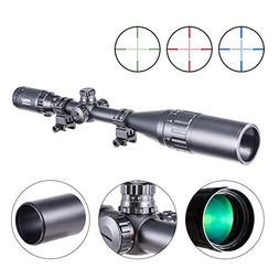 Pinty 6-24x50 AO Red Green Blue Illuminated Mil Dot Scope wi