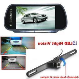"""7"""" LCD Rear View Monitor Mirror Night Vision Car Backup Lice"""