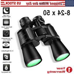 8-24 x 50 Zoom Binoculars Low Light Night Vision Sports Hunt