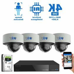 8 Channel 4K NVR 4 8MP PoE IP AI Color Night Vision Dome Sec