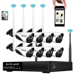 8CH Wireless Network Security Camera System 960P HD Surveill
