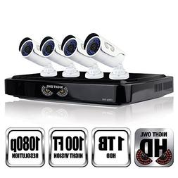 NIGHT OWL C-841-A10 8 Channel 1080P DVR Security System, 4 H