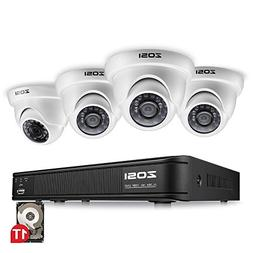 ZOSI 8-Channel 720p HD-TVI Security Camera System,1080P Lite