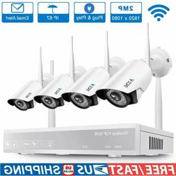 A-ZONE 4CH 1080P NVR Wifi Wireless Home Security Camera Syst