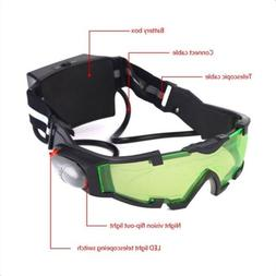 Adjustable LED Night Vision Glass Goggles Hunting Flip-out L