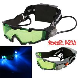 Adjustable LED Night Vision Goggles Glasses W/Flip Out Light