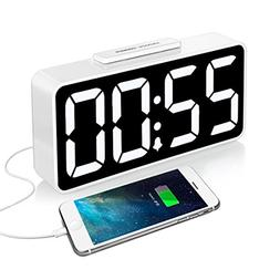 iCKER Digital Alarm Clock Large Display with USB Charger, Di