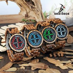 Brand Design Digital Watch Night Vision Wooden Watch Mini Co