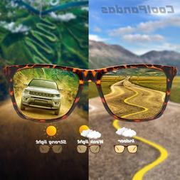 brand square photochromic sunglasses polarized men hd