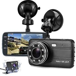 Dash Cam Front and Rear, FANZY 4'' HD Screen Dual Cam Blackb
