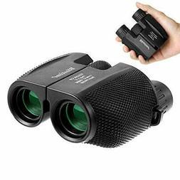 Compact Binoculars, 10x25 Folding High Powered Waterproof Po