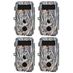 BlazeVideo 4-Pack 16MP No Glow Trail Camera 65ft Infrared PI