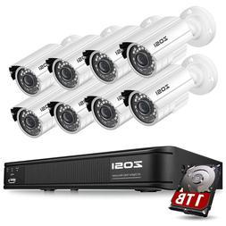ZOSI HDMI 8CH 720P CCTV IR Outdoor Security Camera DVR Night