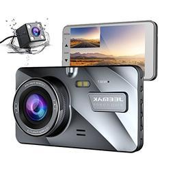 Jeemak Dual Lens Dash Cam Front and Rear 1080P+720P Dashboar