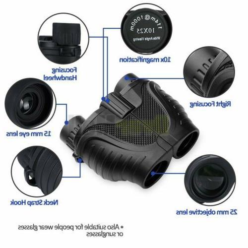 10X25 Binoculars Night Vision BAK4 Prism Power Waterproof