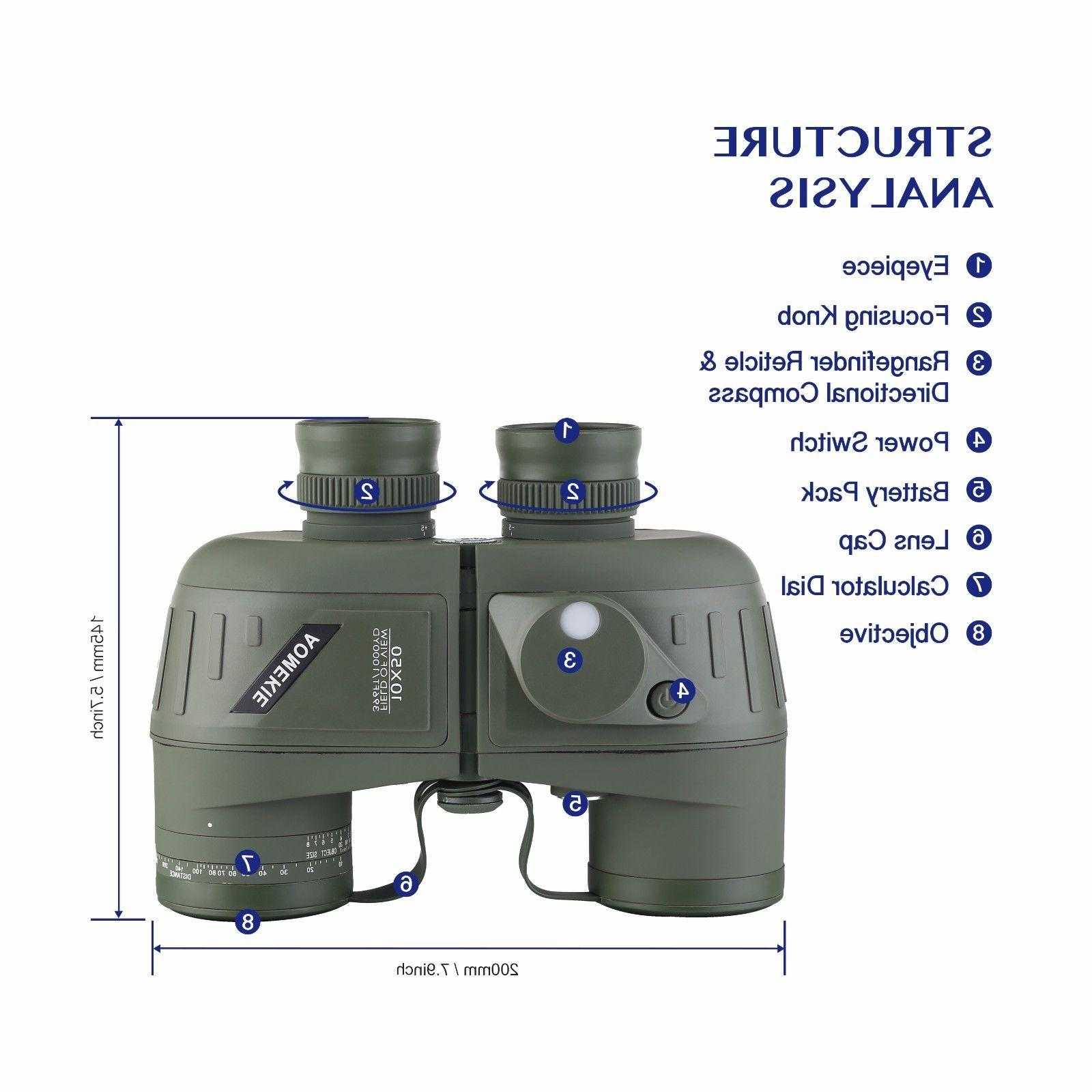 10X50 Binoculars Night Vision Compass BAK4
