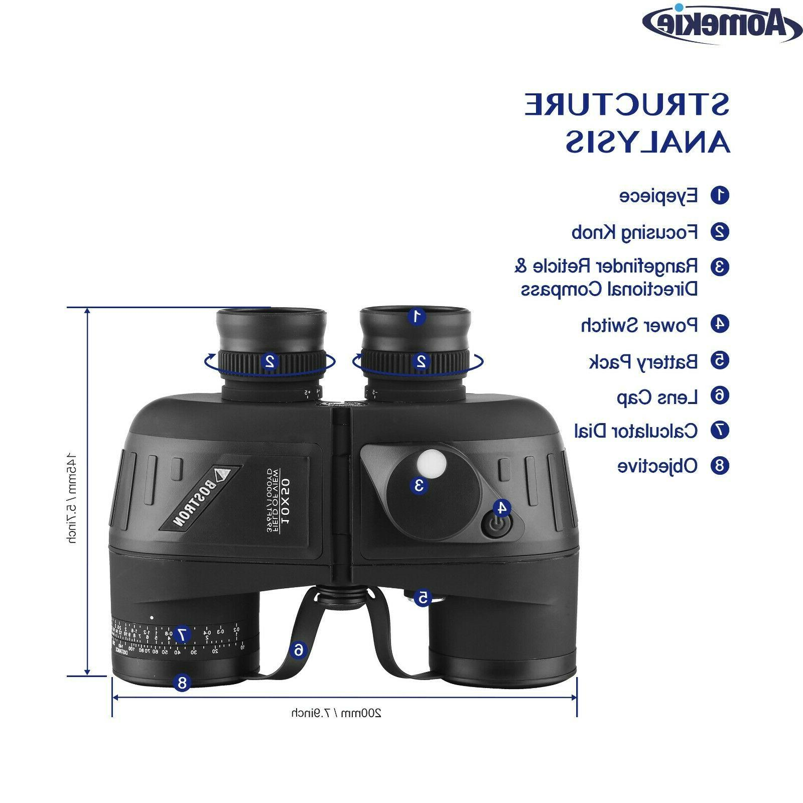 10X50 Vision Binoculars with Rangefinder Compass for Hunting