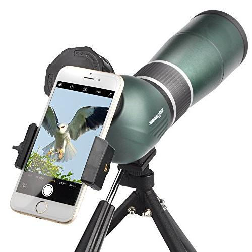Solomark Scope with Tripod Digiscoping Adapter, Angled Eyepiece Army Green