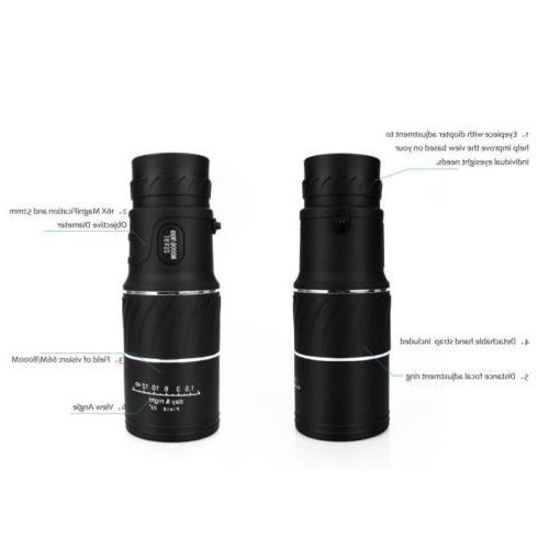 16x52 Vision HD Optical Monocular Hunting Hiking Telescope