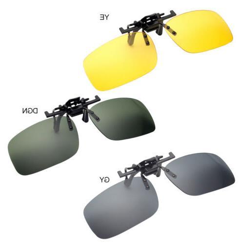 Mens Driving Night Clip-on Flip-up Glasses