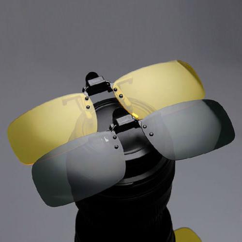 Mens Driving Night Clip-on Sunglasses Glasses Cool Eyewear US