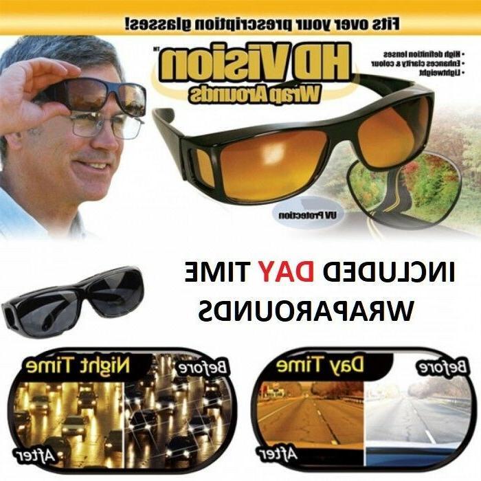 2 Pair set HD Night Vision Wraparound Sunglasses As Seen on