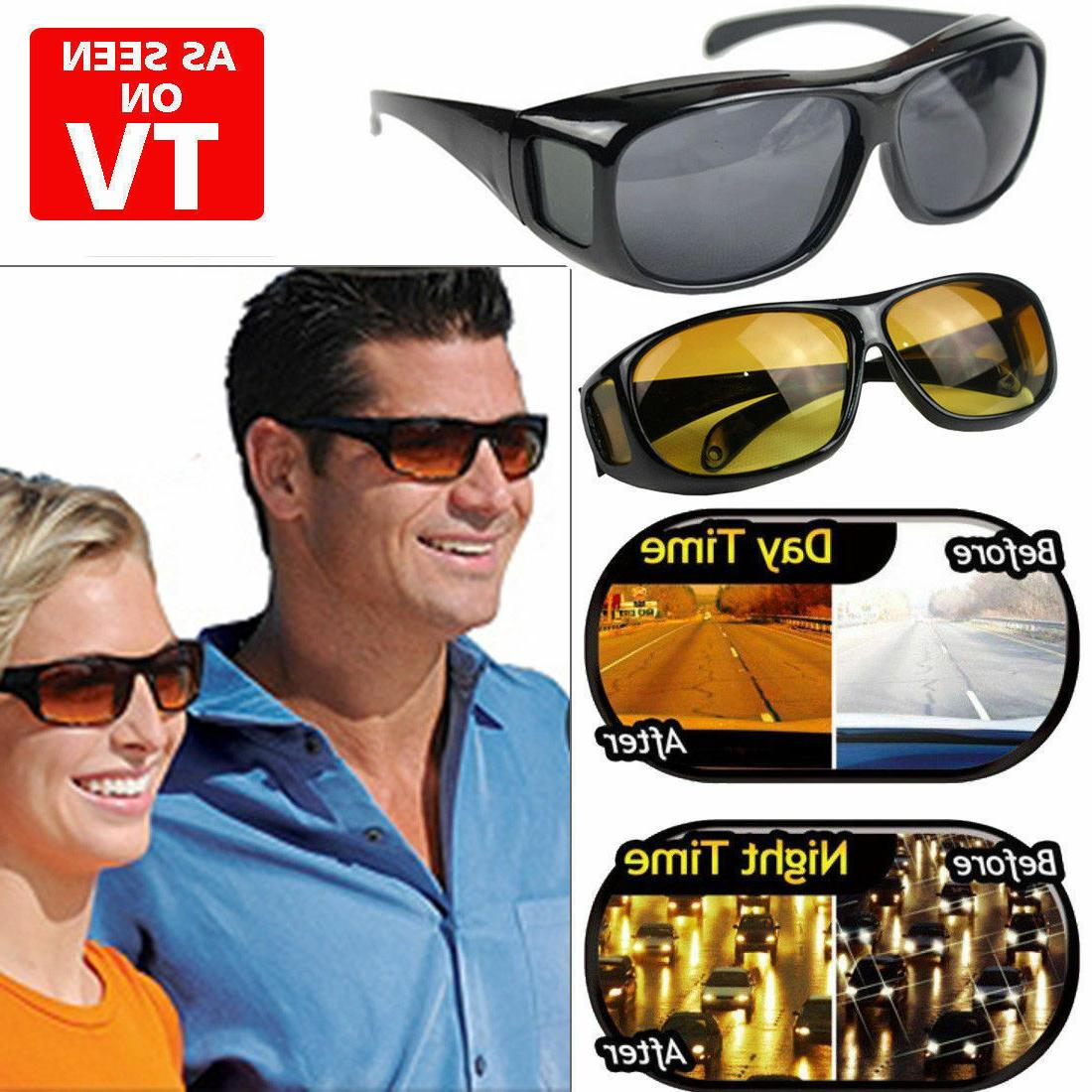 2 pair hd day night vision wraparound