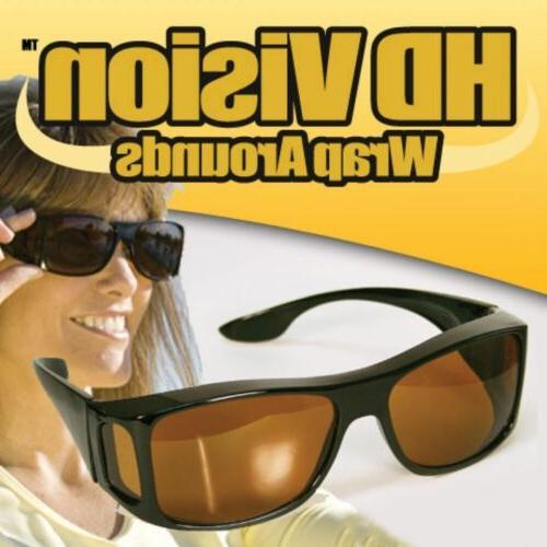 2 Pair set HD Night Vision Sunglasses As Seen Fits OVER Glasses