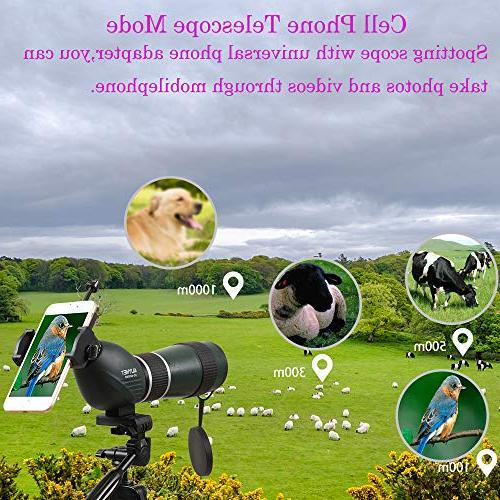 Aliynet 20-60x60mm Telescope with Wireless Connect with Night Vision Monocular with Big Tripod&Phone Adapter Outdoor