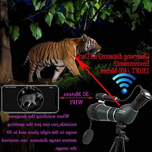 Aliynet 20-60x60mm Telescope WiFi Connect Night Vision Monocular Big Tripod&Phone Adapter Outdoor Watching