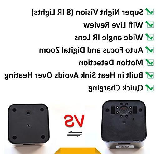 2018 Model: Wall Charger, Night Vision-1080P HD Nanny 128GB SD Memory - Superior Motion Wi-Fi No Audio.