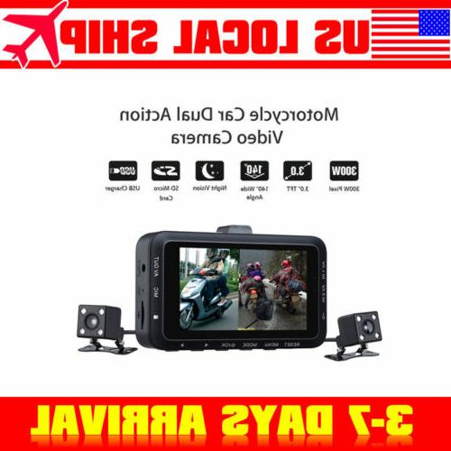 """3"""" Motorcycle DVR Video Camera HD Driving Recorder Double Le"""