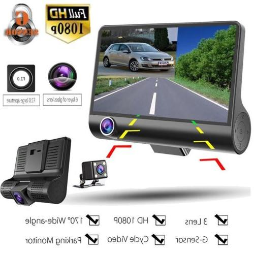 4'' 1080P HD 3 Lens Car DVR Video Dash Cam Camera Night Visi