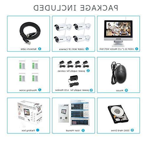 Bechol Surveillance IP 12'' Video Inputs Security 100ft 500GB HDD+UL