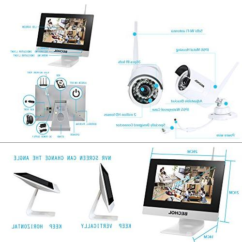 Bechol Security Surveillance IP 4CH 12'' Monitor,4pcs Video 100ft + 500GB HDD+UL