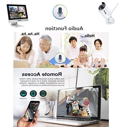 Bechol 1080HD Wireless Surveillance IP System 4CH NVR with 100ft Night Vision + 500GB HDD+UL