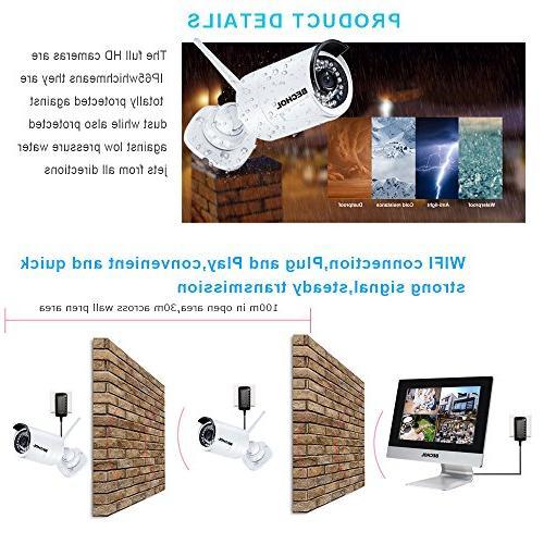 Bechol 1080HD Surveillance System 4CH WiFi NVR 12'' LCD Waterproof Video Inputs 100ft Vision 500GB HDD+UL