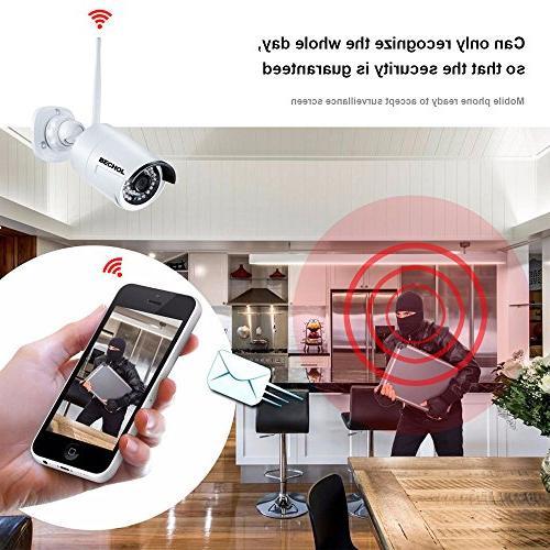 Bechol Surveillance Camera 4CH WiFi 12'' LCD Video Inputs 100ft 500GB Adapter