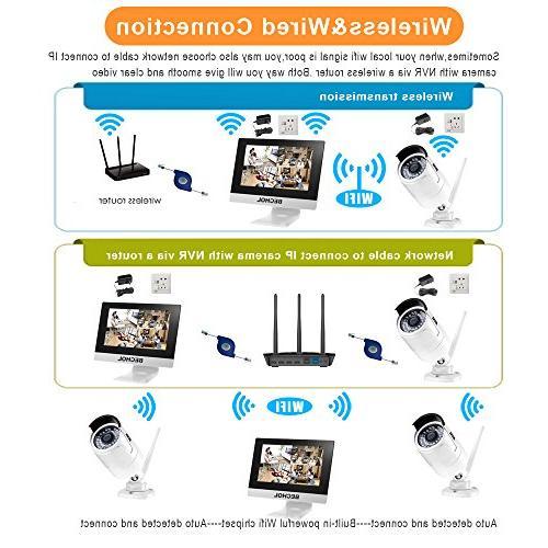 Bechol 1080HD Wireless Security Surveillance IP Camera 4CH 12'' Waterproof Video Inputs Camera 100ft 500GB