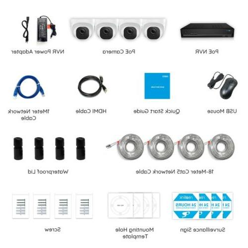 8MP Security Camera System Kit 7/24 Recording HDD