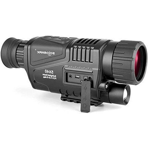 SOLOMARK 5x40 Vision Monocular-Infrared Camera Recording and Video Function in Hunting Security Surveillance with Battery Included