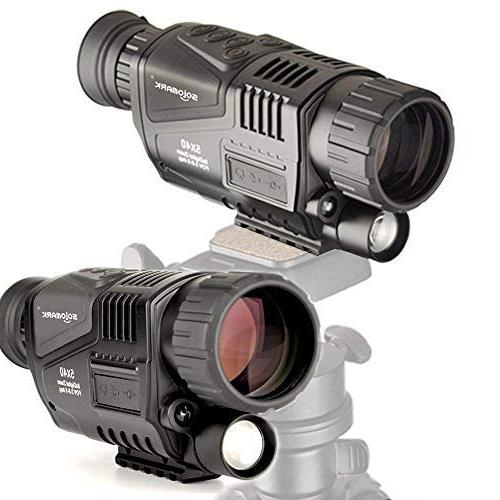 SOLOMARK 5x40 Vision Monocular-Infrared IR Recording and Function Complete Hunting Security Included