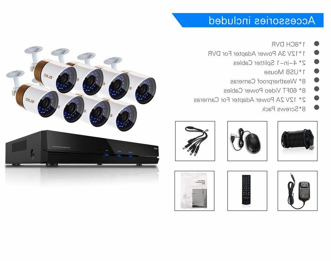 ELEC 8CH 1080P CCTV DVR 1500TVL Outdoor Night Vision System
